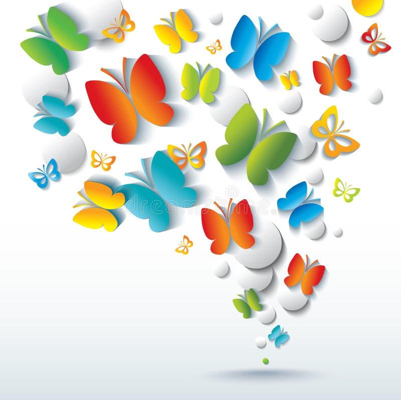 与蝴蝶的抽象背景。 皇族释放例证