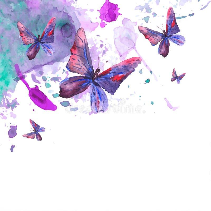 与蝴蝶的抽象水彩背景 库存例证