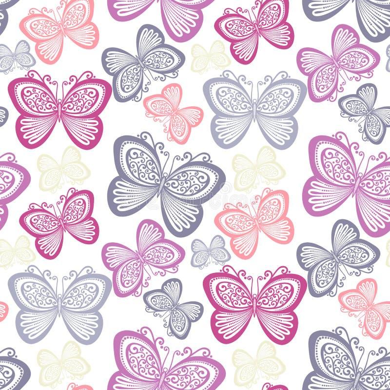 与蝴蝶的无缝的华丽花卉样式 向量例证