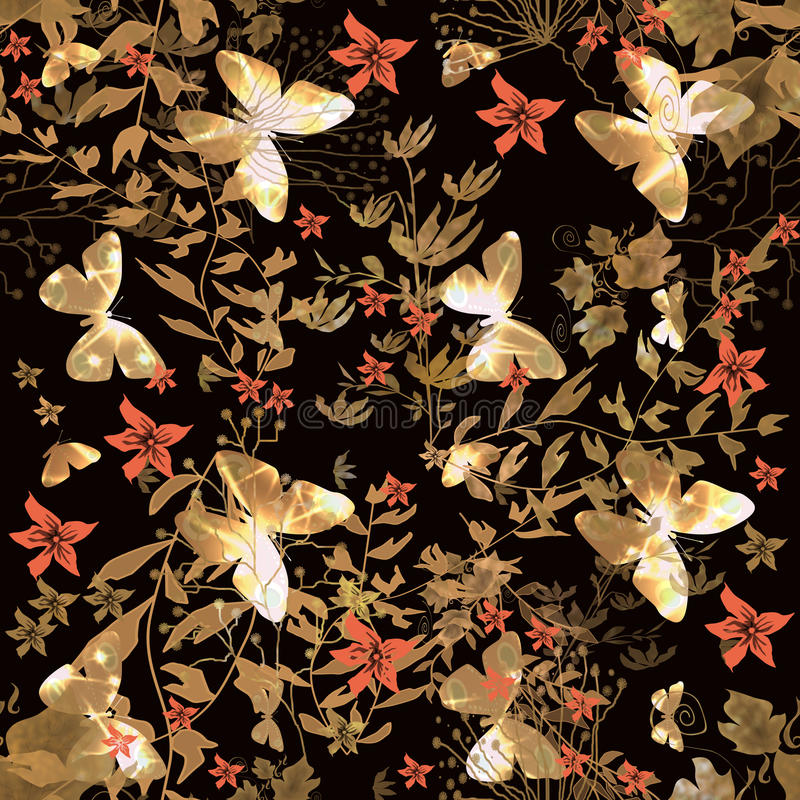 与蝴蝶的花卉无缝的样式 向量例证