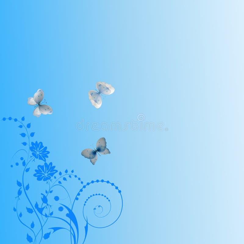 与蝴蝶的蓝色花卉摘要 免版税图库摄影