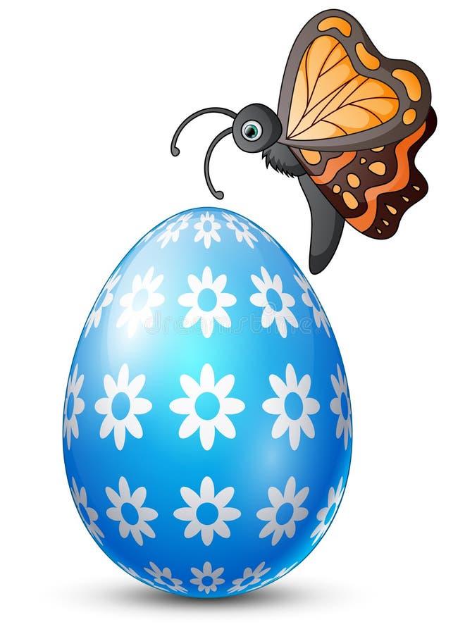 与蝴蝶的装饰的复活节彩蛋 向量例证