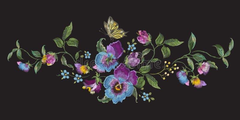 与蝴蝶花的刺绣风景花卉样式和忘记我n 向量例证