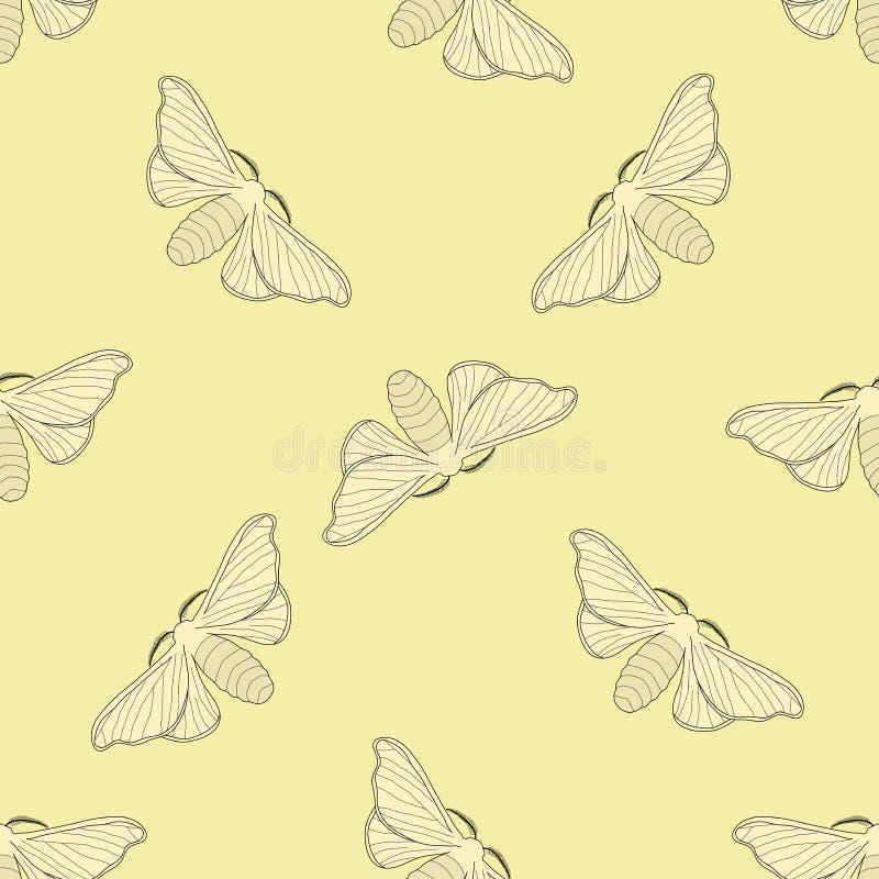 与蝴蝶蚕mori的无缝的样式 手拉的蝴蝶蚕mori 库存例证