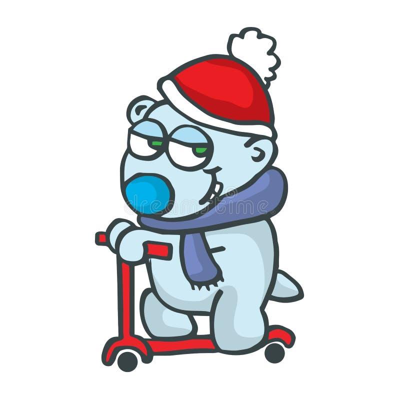 与滑行车动画片设计的Polarbear 皇族释放例证