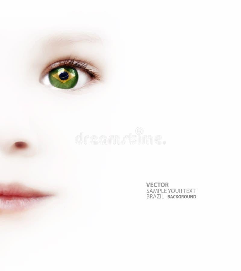 与巴西旗子的儿童的眼睛 免版税库存照片