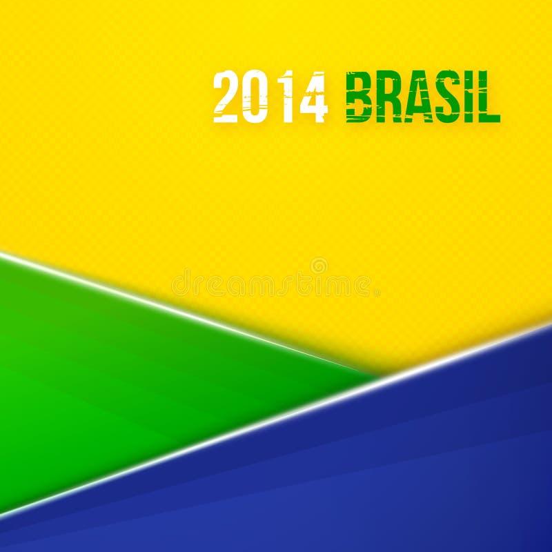 与巴西旗子颜色的抽象几何背景。传染媒介例证 库存例证