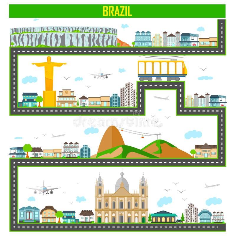 与巴西的著名纪念碑和大厦的都市风景 皇族释放例证