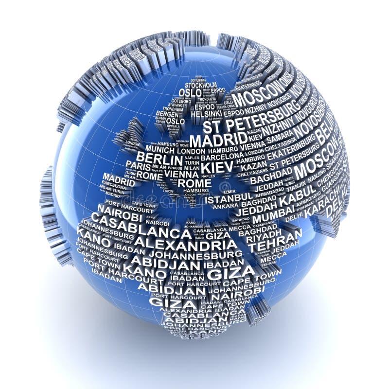 与主要城市的名字的地球在世界上 库存例证