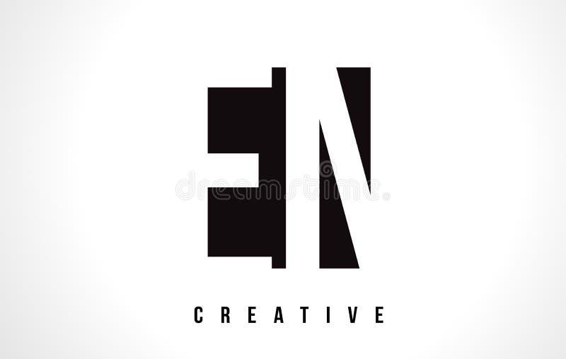 与黑角规的EN E N白色信件商标设计 皇族释放例证