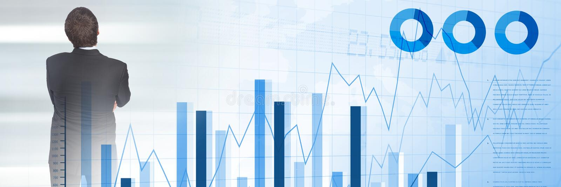 与统计和图转折的想法的商人 向量例证