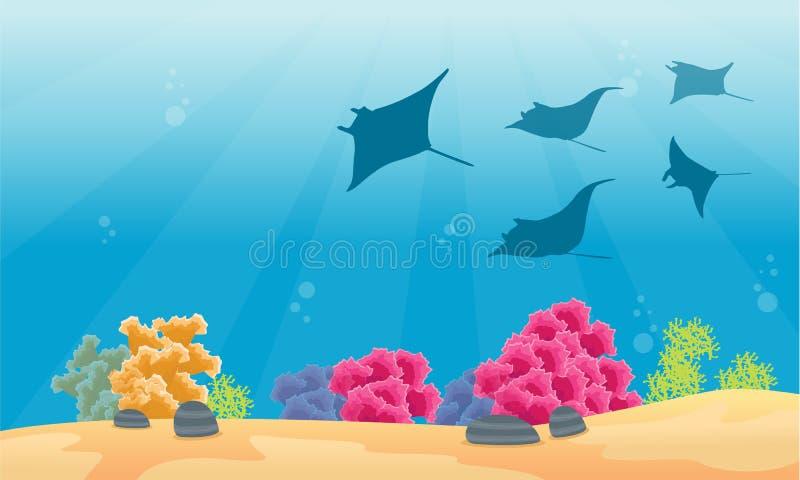与黄貂鱼剪影的风景珊瑚礁 皇族释放例证