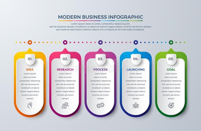 与5过程或步的Infographic设计 图的,报告,工作流Infographic和更 与现代和简单的Infographic 皇族释放例证