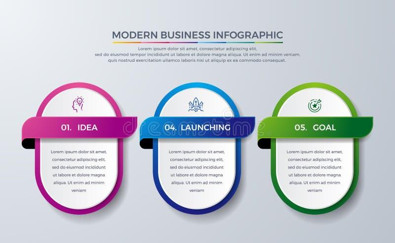 与3过程或步的Infographic设计 图的,报告,工作流Infographic和更 与现代和简单的Infographic 皇族释放例证