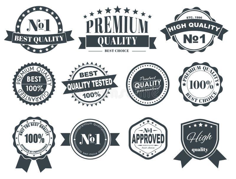 与质量标志的设计标签 向量例证