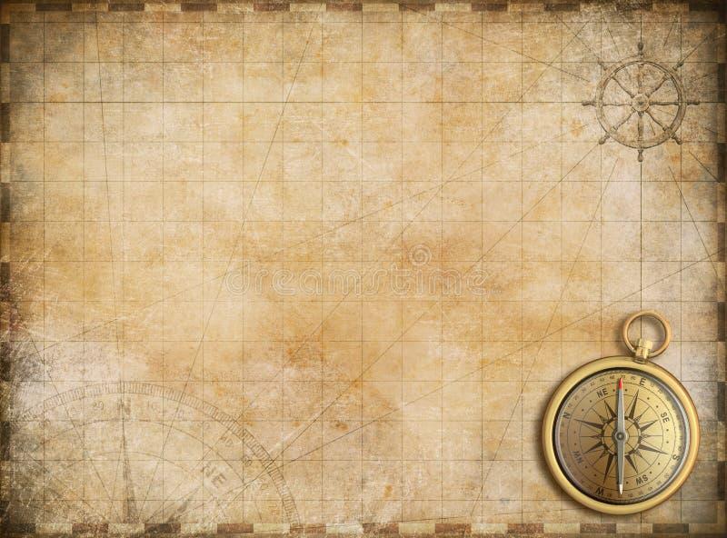 与黄铜指南针的老地图当探险背景 向量例证