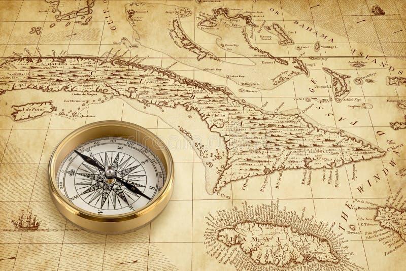 与黄铜指南针的老海盗地图 免版税库存图片