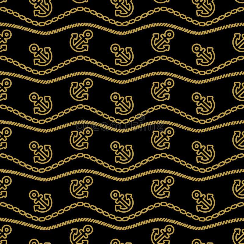与绳索锚链的无缝的样式和波浪金子和黑色 海洋题材持续的背景  向量 库存例证