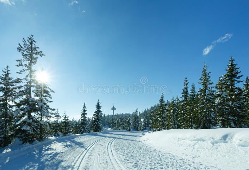 与滑雪坡道的冬天晴朗的山风景。 免版税库存照片