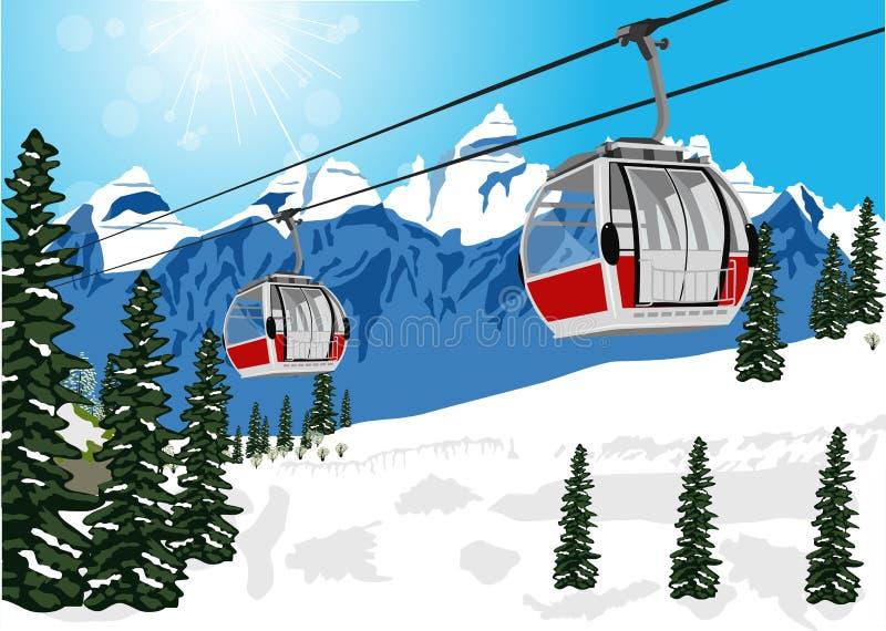 与滑雪电缆车缆绳摊或汽车的美妙的冬天风景 向量例证