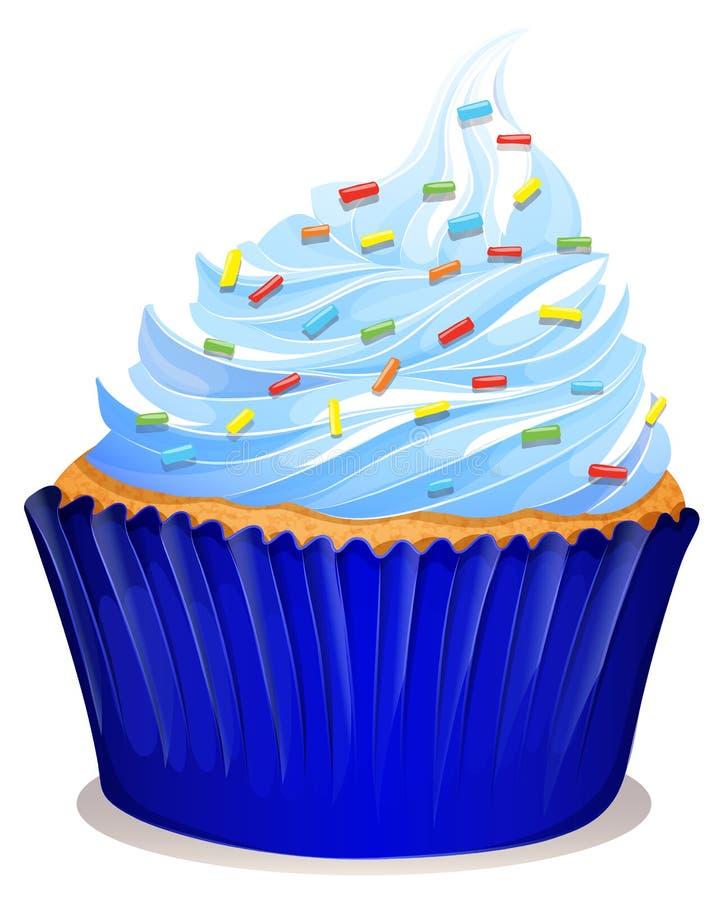 与结霜的蓝色杯形蛋糕 库存例证