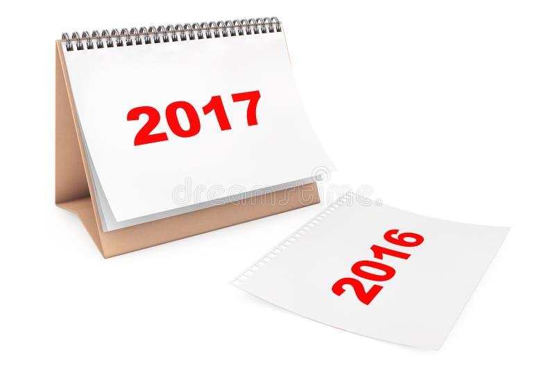 与2017年页的折叠的日历 3d翻译 库存例证