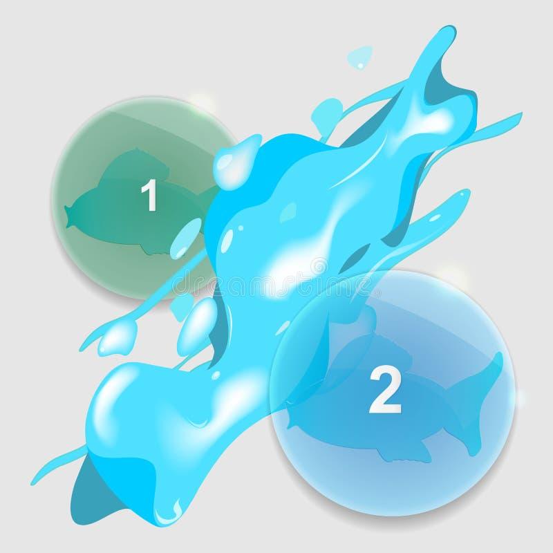 与水飞溅的信息图表玻璃元素 库存例证