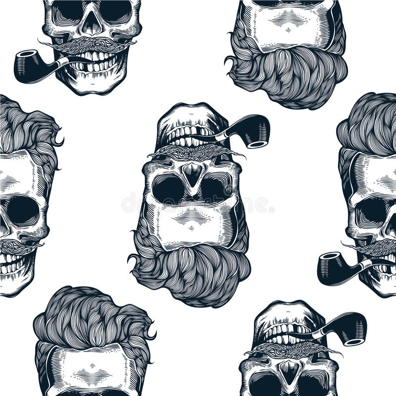 与头骨剪影的行家无缝的样式,在葡萄酒板刻样式髭,胡子,烟斗的头骨剪影 Blac 向量例证