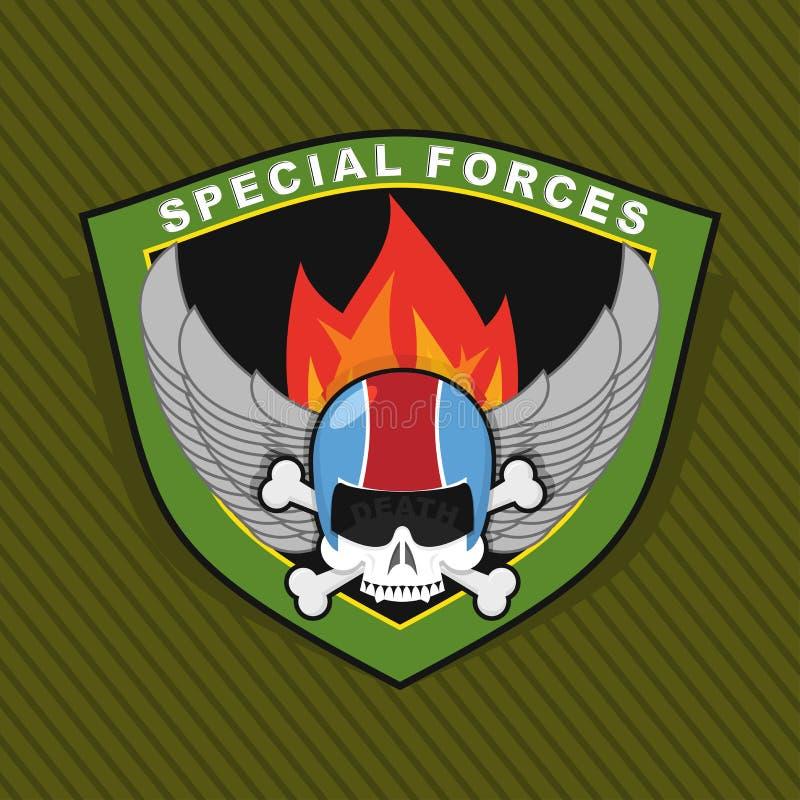与头骨和武器,在盾的翼的军事象征 WA 向量例证
