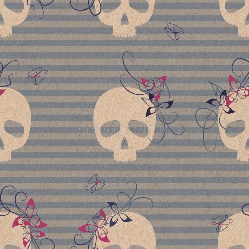 Download 与头骨和花的样式 库存例证. 插画 包括有 无缝, 例证, 花卉, 滑稽, 线路, 蓝色, 模式, 投反对票 - 30336453