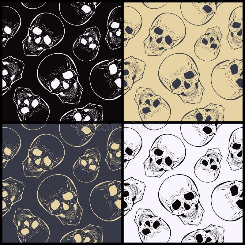 与头骨的传染媒介无缝的样式 库存例证