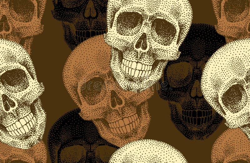 与头骨的无缝的模式 向量例证
