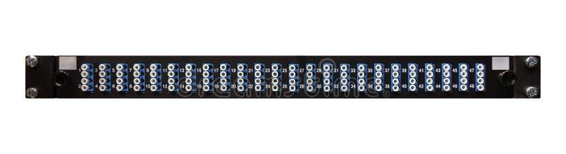 与48高密LC Connecto的光纤网络接线板 免版税库存图片