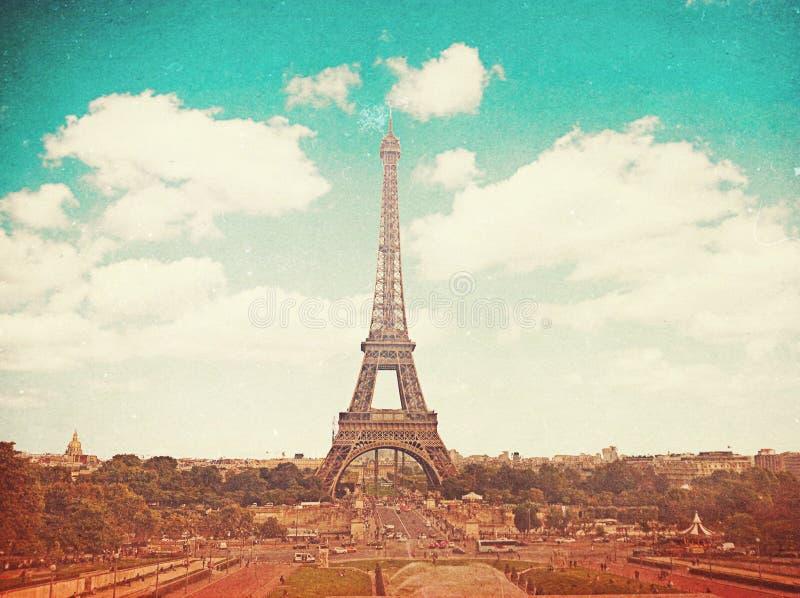 与巴黎,法国,葡萄酒的减速火箭的照片 免版税图库摄影