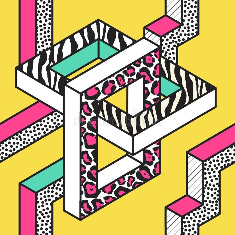 与3d几何形状的抽象孟菲斯无缝的样式 时尚80s 90s织品设计 时髦行家背景 向量例证