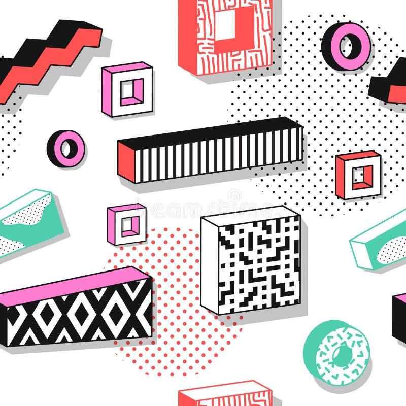 与3d几何形状的抽象孟菲斯无缝的样式 时尚80s 90s织品设计 时髦行家背景 库存例证