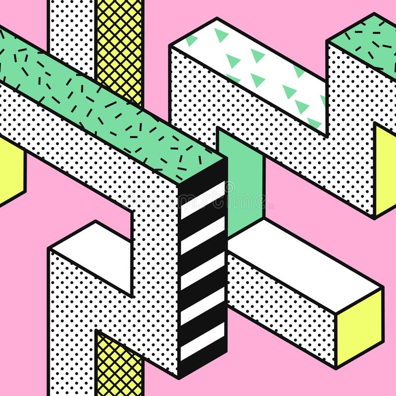 与3d几何形状的抽象孟菲斯无缝的样式 时尚80s 90s织品设计 时髦行家背景 皇族释放例证