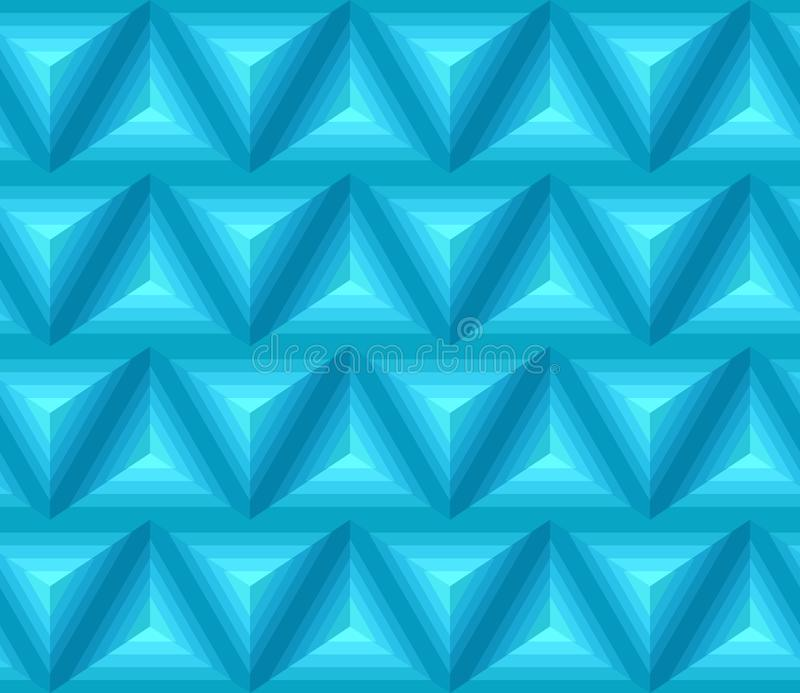 与3D几何形状的无缝的蓝色ethno样式 向量例证