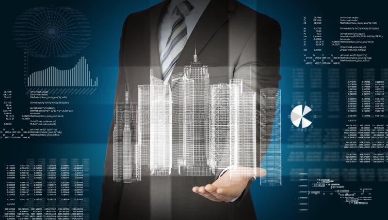 与3d城市模型和图表的商人 免版税库存图片