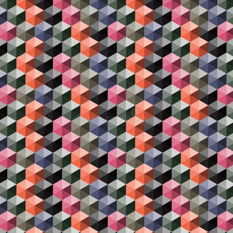 与3d多色立方体的无缝的抽象传染媒介样式 库存例证