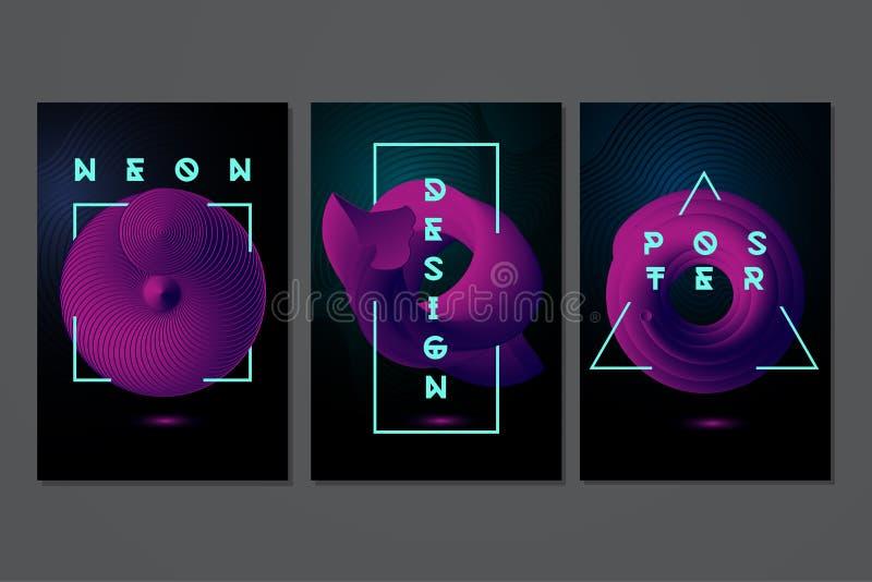 与3d对象的霓虹海报集合 未来派最小的backrounds 抽象现代设计 E 向量例证