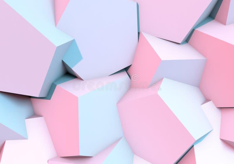 与3d形状和充满活力的颜色的抽象背景 库存例证
