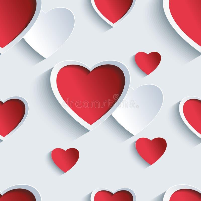与3d心脏的情人节无缝的样式 皇族释放例证