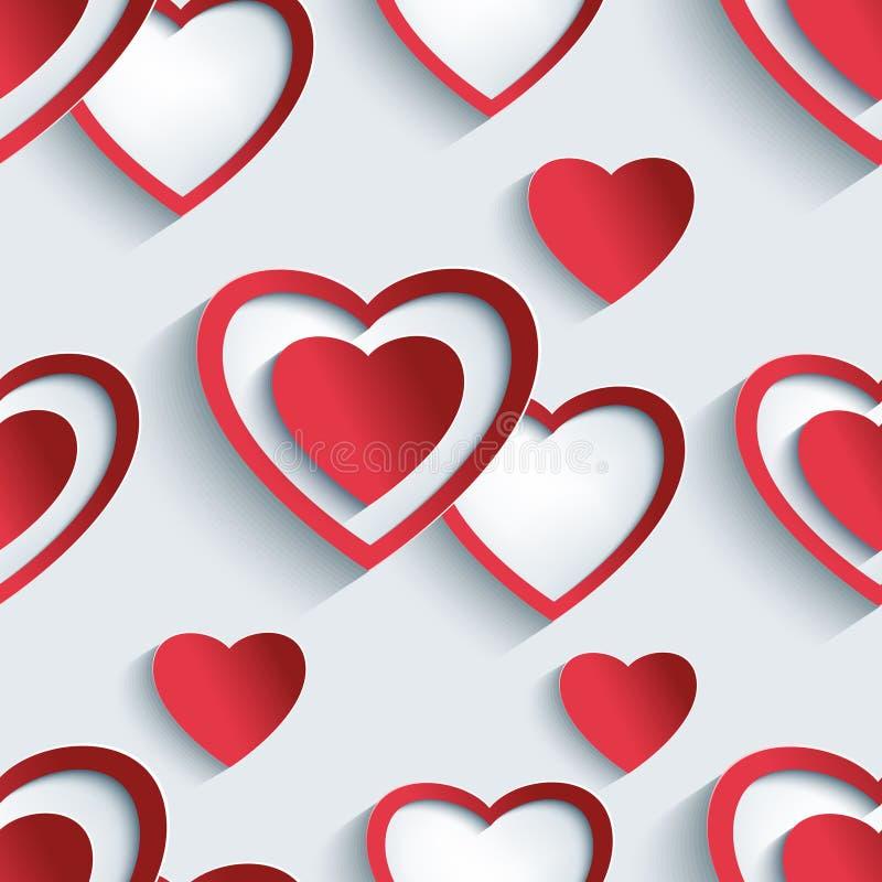 与3d心脏的无缝的样式天华伦泰的 向量例证
