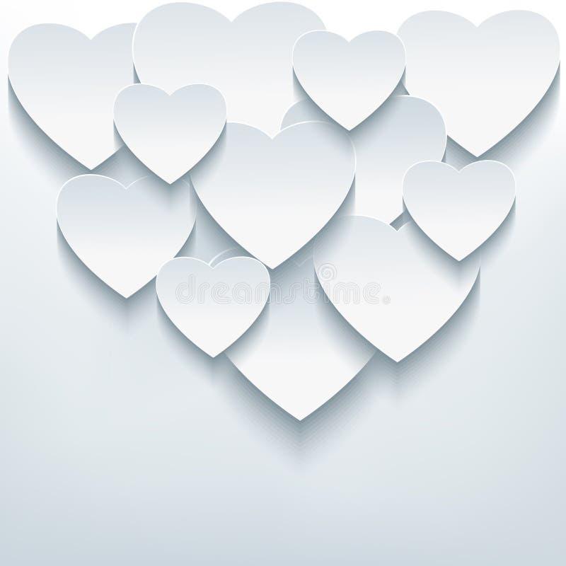 与3d心脏的时髦的创造性的抽象背景 皇族释放例证