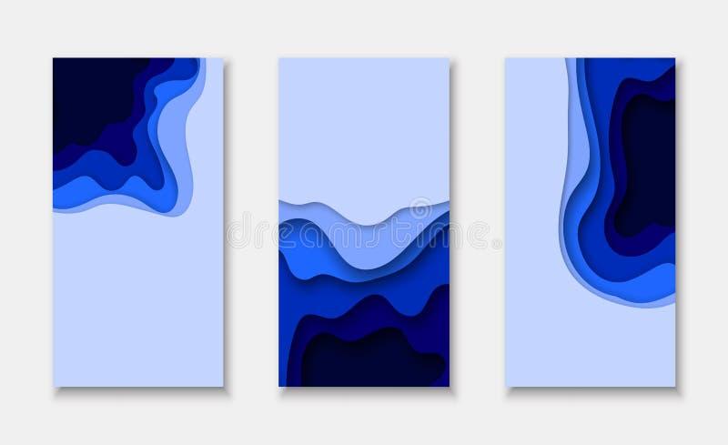 与3d摘要纸的盖子或飞行物模板削减了蓝色背景 库存例证
