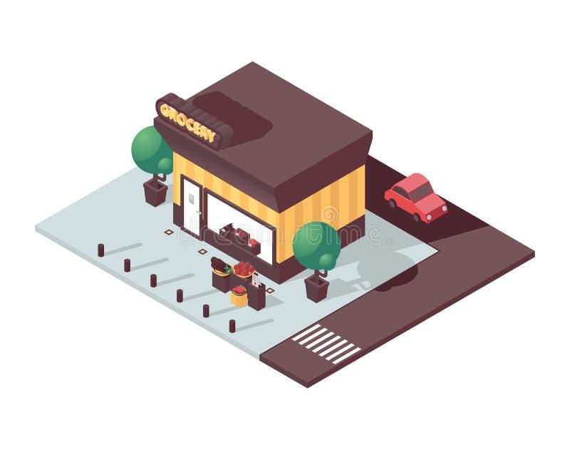 与3d杂货店商店的等量场面 传染媒介菜的概念例证在城市购物,画与生动的颜色,汽车 向量例证