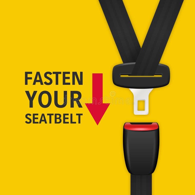 与3d现实被疏导的乘客游乐器具Clopeup的传染媒介背景在黄色隔绝了 紧固您的安全带 向量例证