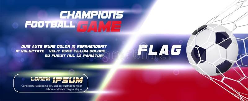 与3d球的足球或橄榄球宽横幅在旗子背景 橄榄球比赛比赛目标飞行物或海报设计  皇族释放例证