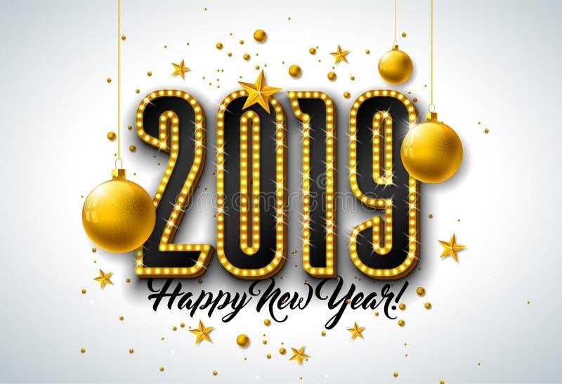 与3d电灯泡印刷术字法的2019新年快乐例证和在白色背景的圣诞节球 节假日 向量例证